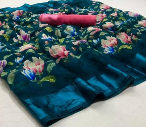 peacock soft linen silk fabric print work party