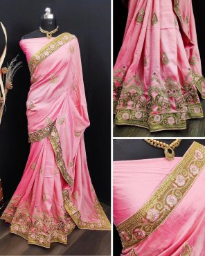 baby pink vichitra silk fabric heavy embroidery work wedding