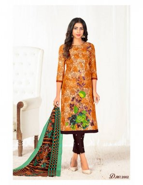 orange pure cotton fabric print work casual