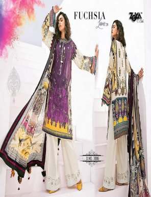 magenta pure lawn  fabric embroidery  work festival