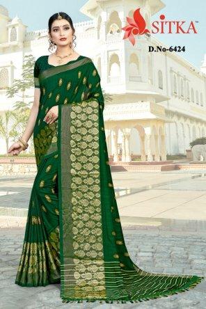 green vichitra silk fabric weaving work festival