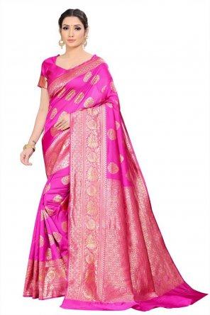 hot pink pure silk fabric weaving work festival