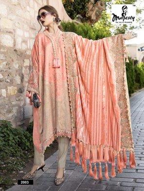 peach jam silk fabric printed work wedding