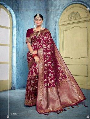 red maroon banarasi silk fabric weaving work wedding