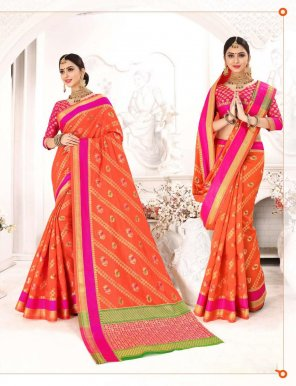 orange patola silk fabric jaquard work festive
