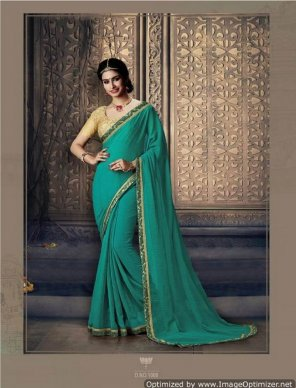 green georgette fabric printed work party