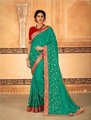 rama green dola silk fabric embroidery work festival