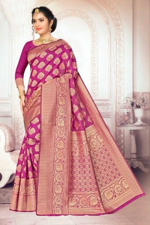 rani pink banarasi silk fabric weaving work festival