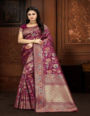 purple banarasi silk fabric banarasi jacquard work wedding