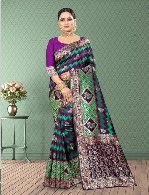 purple banarsi silk fabric zari work work festival