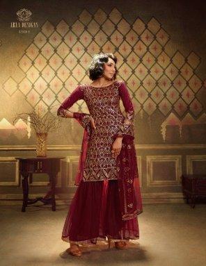 maroon soft net fabric sequance work work wedding