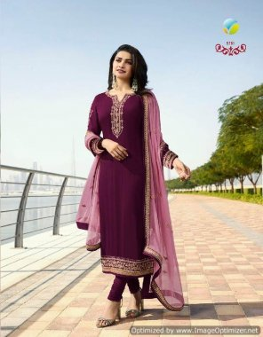 purple georgette fabric machine work work wedding