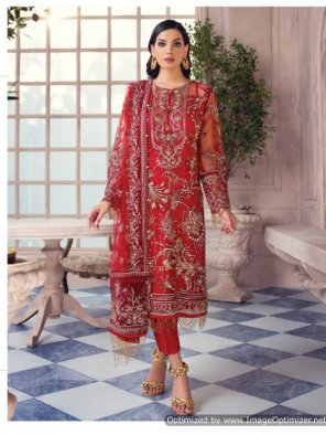 red heavy net  fabric embroidery work wedding