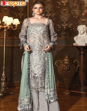 grey  havy net fabric embroideri   work wedding