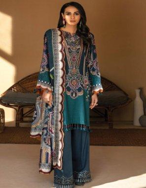 peacock blue silk fabric embroideri & digital print work casule