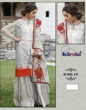 grey & red havy net fabric embroidered work work party
