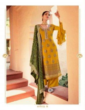 methi yellow mix fabric fabric chinon sequance embroidrey with jaquard daman work wedding