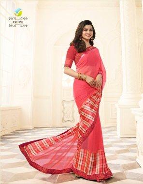 baby pink georgette + satin fabric printed work wedding