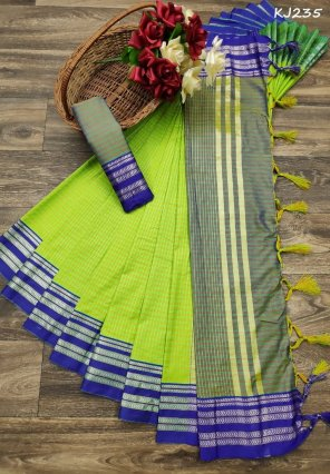 lime soft cotton silk fabric check print work casual