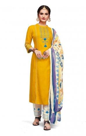 yellow  cotton fabric printed work ethnic