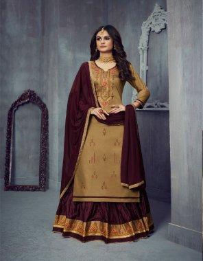 light brown jam silk cotton fabric machine work work wedding