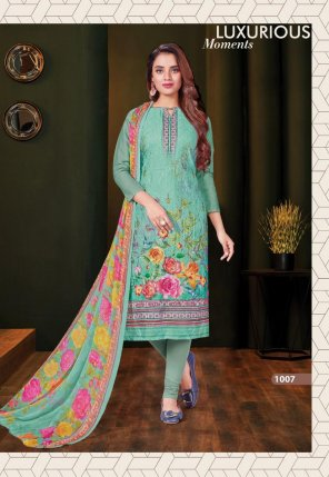 peacock green cotton fabric printed work designer dress material