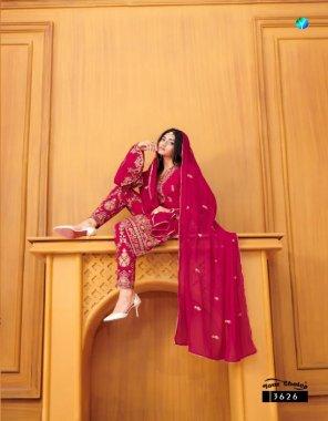 pink georgette fabric machine work work wedding