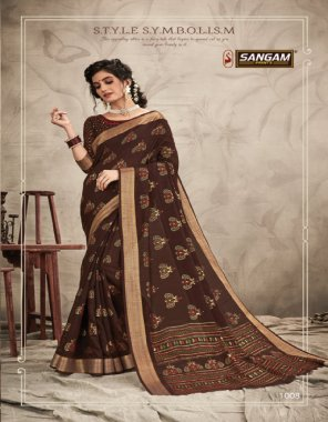 brown cotton fabric printed work party