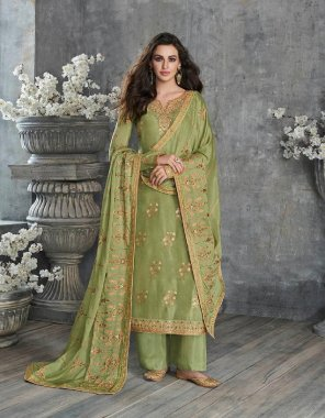 pista green mix febric fabric embroidery work wedding