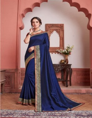royal blue vichitra silk fabric embroidery work party