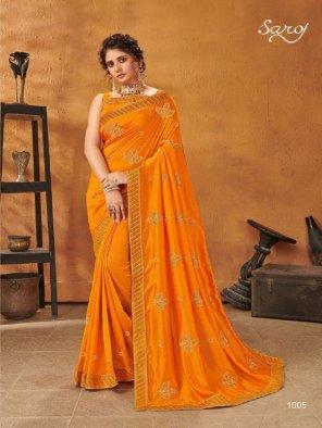 dark yellow vichitra silk fabric embroidery work festivel