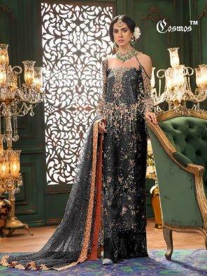 black net fabric embroidery work wedding