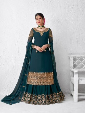 peacock blue georgette fabric embroidery work wedding