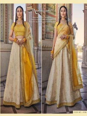 yellow  handloom silk fabric embroidery work wedding