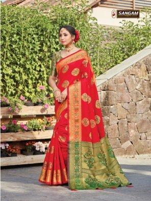 red silk fabric jaquard print work daily
