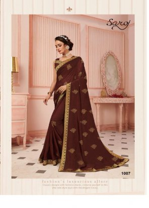 brown vichitra silk fabric printed work party