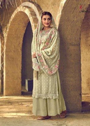 pista green georgette fabric embroidery work wedding