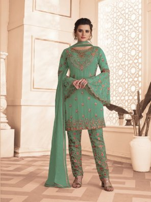 pista green georgette fabric embroidery work party
