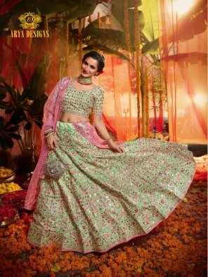 pista green organza fabric embroidery work wedding