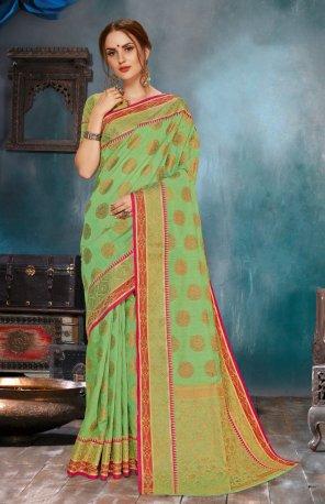 pista green linen silk fabric embroidery work ethnic