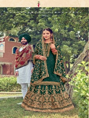 green pure viscose fabric embroidery work wedding