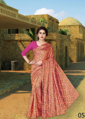 peach silk with jaquard fabric bandhej work work festival