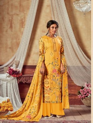 yellow sattin cotton fabric printed work running