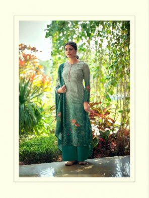peacock green maslin fabric embroidery work ethnic