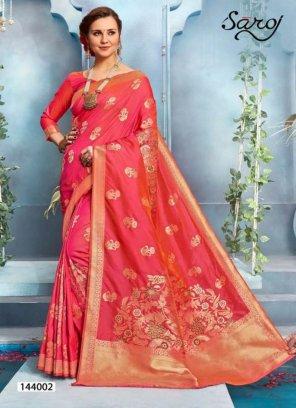 candy pink banarasi silk fabric weaving  work festival