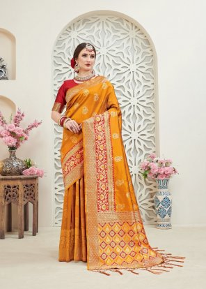 methi yellow silk fabric jaquard print work wedding