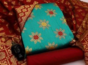 peacock green banarasi jaquard silk fabric jaquard print work party