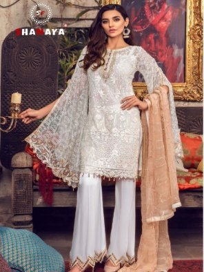 white faux georgette fabric embroidery work party