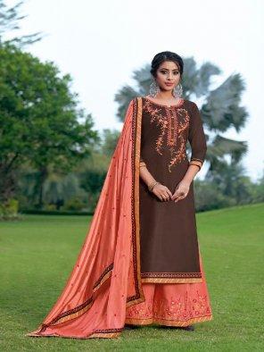 brown jam silk fabric embroidery work ethnic
