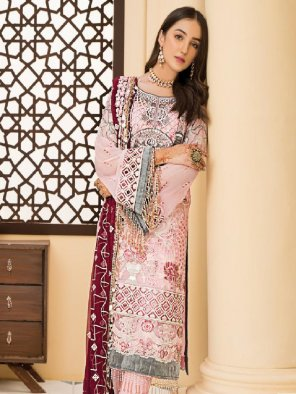 baby pink faux georgette fabric embroidery work occasionaly